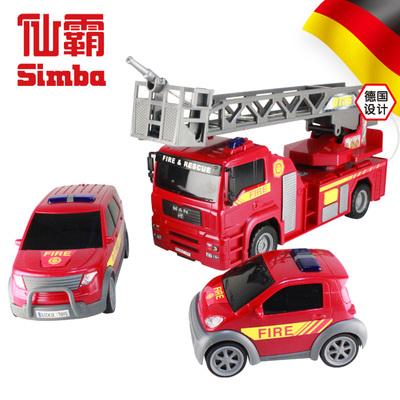 德国仙霸SOS消防救援三车组合消防车警车惯性动力车模玩具